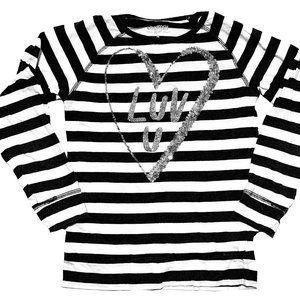 OshKosh B&W Striped Glitter Heart Shirt
